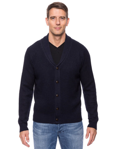 Wool Blend Shawl Collar Cardigan in Waffle Stitch - Navy