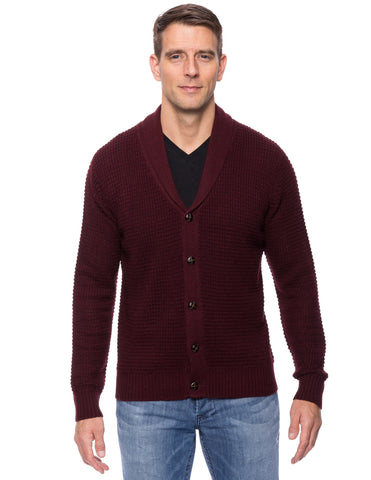 Wool Blend Shawl Collar Cardigan in Waffle Stitch - Bordeaux