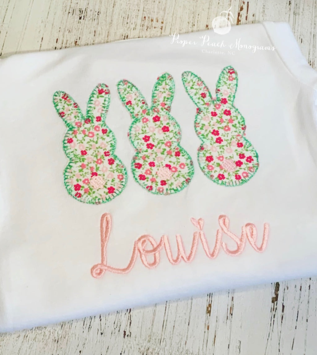Appliqué bunny design - girl