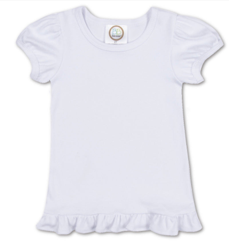Girls Short Sleeve Ruffle Tee- Custom Embroidery Listing
