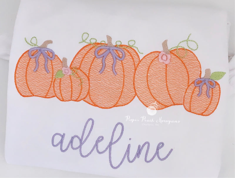 Pumpkins with bows & rosettes