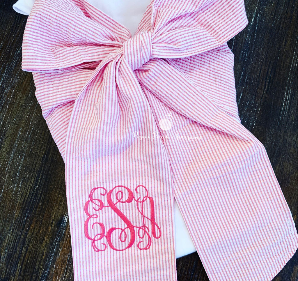 Seersucker Bow Swaddle