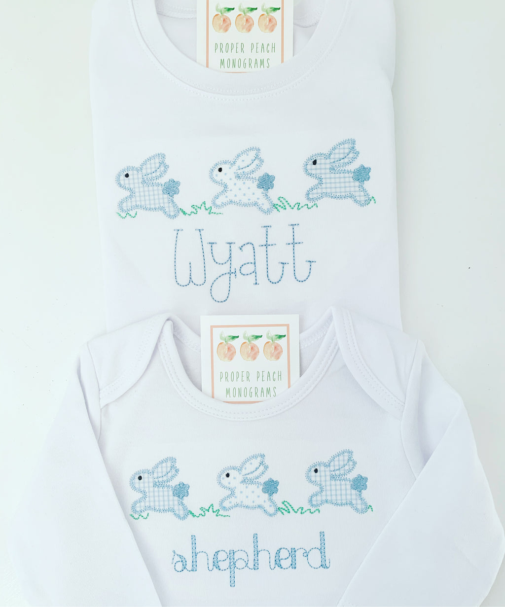 Applique Running Bunnies Tee (boy)