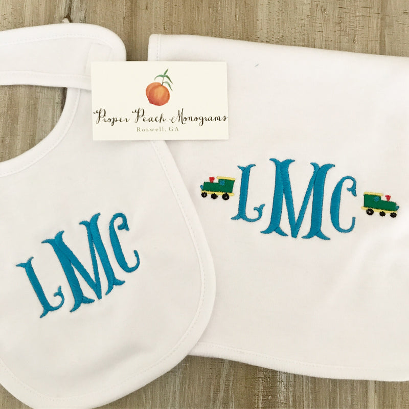 Plain/unisex bib + burp cloth set