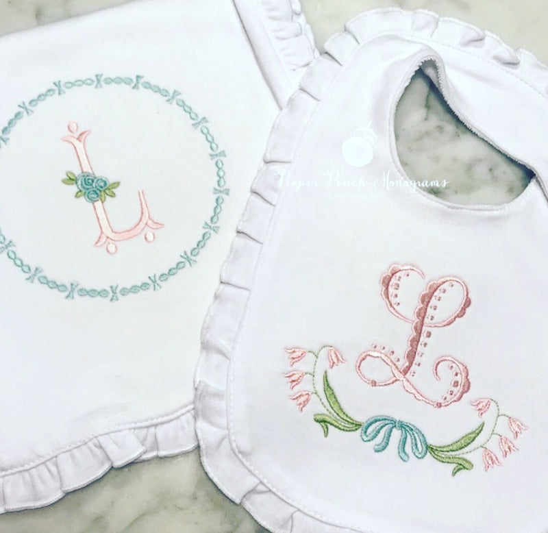 Ruffle bib + burp cloth
