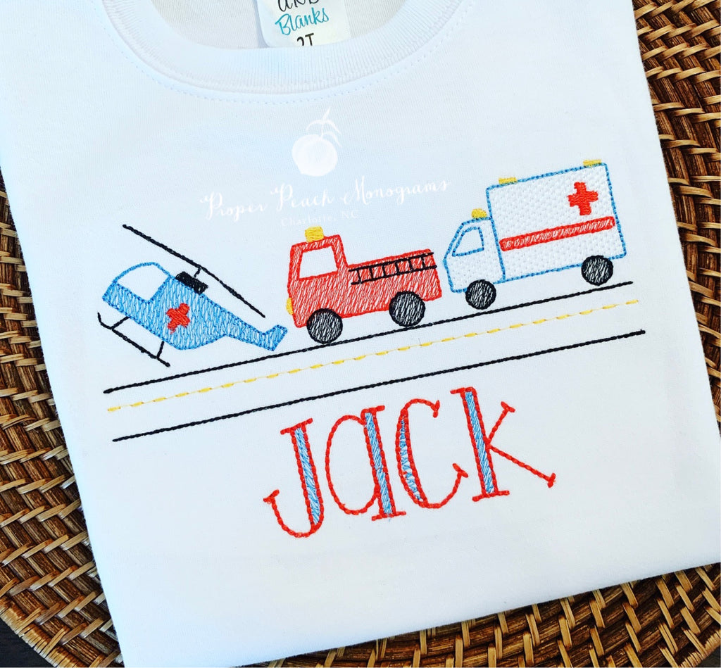 Emergency vehicles tee