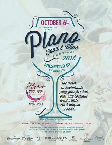 The Plano Food + Wine Festival October 6th from 12pm-4pm at the Shops At Willow Bend