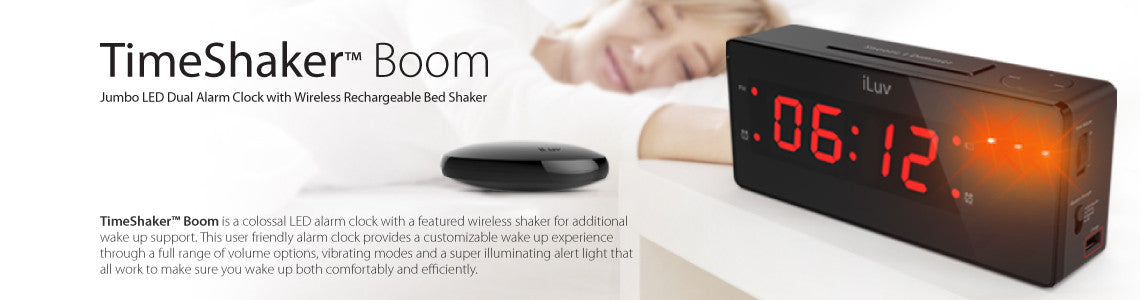 Jumbo LED Dual Alarm Clock with Wireless Rechargeable Bed Shaker