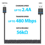 Premium Coiled Lightning Cable (1ft to 5ft extendible)