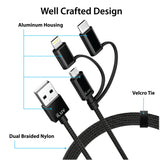 iLuv 3-in-1 Cable, USB 2.0 to Micro USB/Lightning/USB-C Charge & Sync