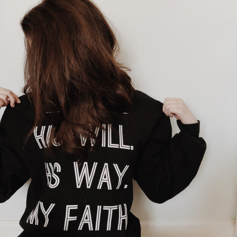 His will. His way. My Fatih. Women's Crewneck Sweatshirt Active Wear: Doves x Fit Bible Jesus Faith Pray Gifts Sweatshirt on Model