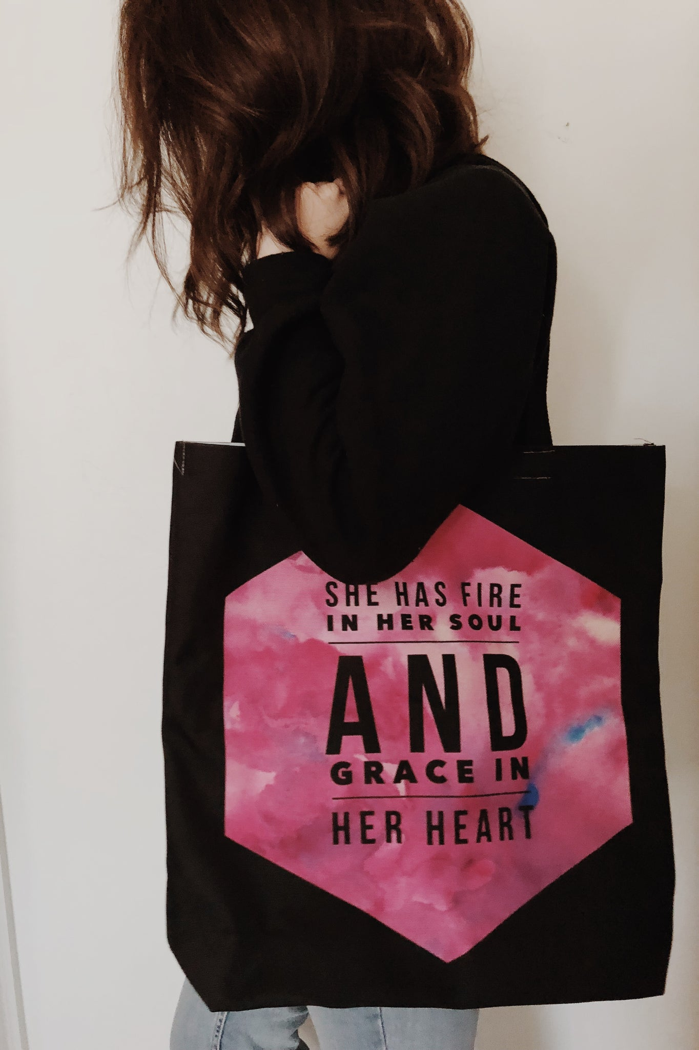 She Has Fire in Her Soul and Grace in her Heart Tote Bag | Christian Women's Apparel, Gifts & Accessories