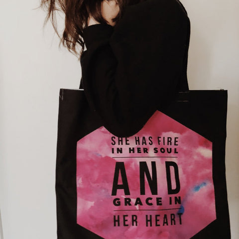 She Has Fire in Her Soul and Grace in her Heart Tote Bag | Christian Women's Apparel, Gifts & Accessories Bible Jesus God Photo of Tote Bag on a Model