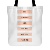 God is Within Her, She Will Not Fall | Christian Tote | Doves x Fit | Religious Jesus Bible Accessories WHITE