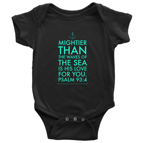 Mightier than the Waves of the Sea is His Love for You | Christian Onesie For Boys and Girls Black