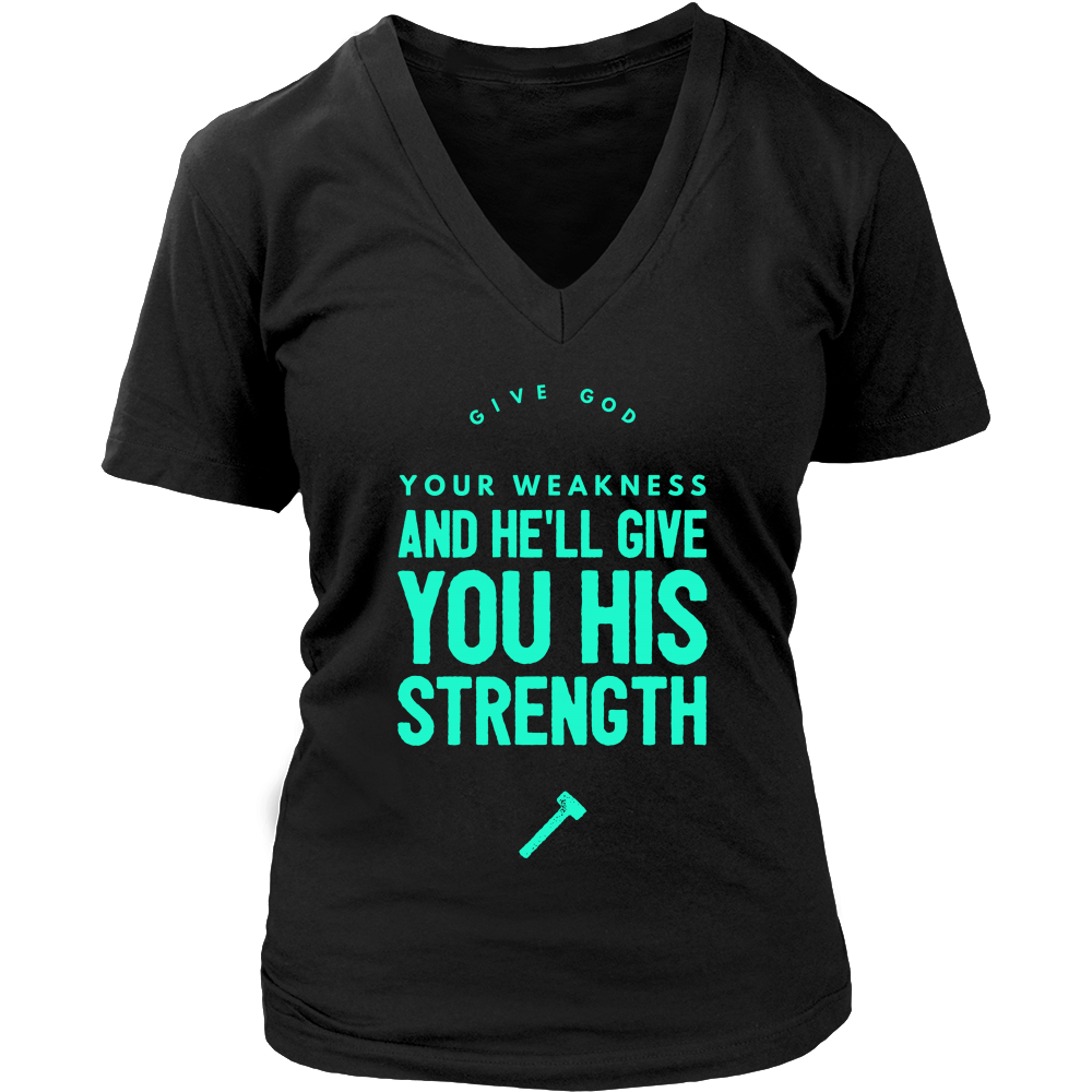 Give God Your Weakness Women's V-Neck Fitness: Doves x Fit