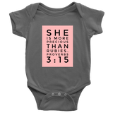 She's More Precious Than Rubies | Christian Onesie Dark Grey