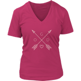 GOD Arrows and Feathers | Christian V-Neck T-Shirt | Plus Sizes Pink