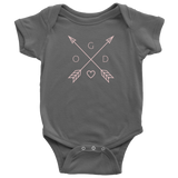 GOD Arrows and Feathers | Christian Onesie Asphalt Grey