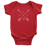 GOD Arrows and Feathers | Christian Onesie Red