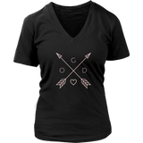 GOD Arrows and Feathers | Christian V-Neck T-Shirt | Plus Sizes  Black
