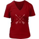 GOD Arrows and Feathers | Christian V-Neck T-Shirt | Plus Sizes Red
