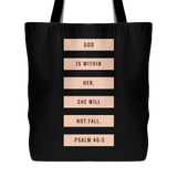 God is Within Her, She Will Not Fall | Christian Tote | Doves x Fit | Religious Jesus Bible Accessories BLACK