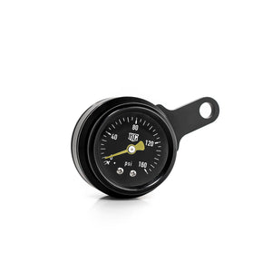 "New Design Harley-Davidson ""Milwaukee-Eight"" Rocker Box Mounted Air Ride Black Pressure Gauge Kit 5/32 (4 mm)"