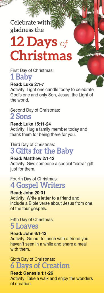 Bookmark: Twelve Days Of Christmas Gladness Bookmark