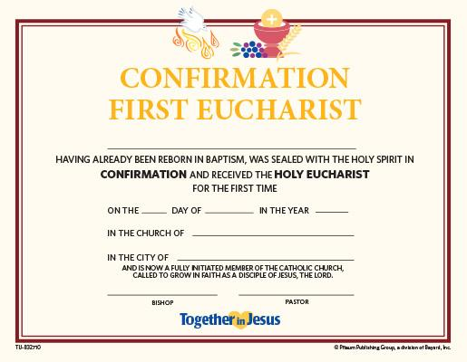 Confirmation with First Eucharist Certificate — Set of 10 — Together in Jesus