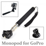 Extendable Handheld Monopod Selfie Stick + Tripod Mount Adapter For GoPro Hero 3+/2/1