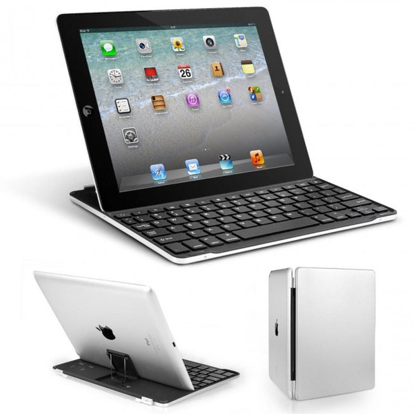 Ultrathin Bluetooth Wireless Keyboard Aluminum Cover with Stand for iPad 4/3/2
