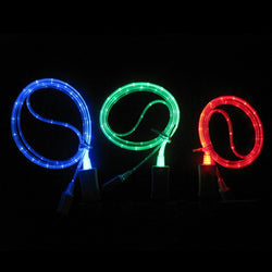 Visible LED Light USB Flash Charger Cable for iPhone iPad iPod (Blue, Green and Red)