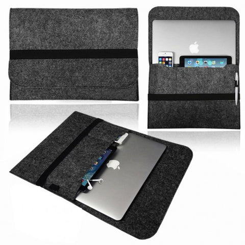 Universal Soft Felt Laptop/Tablet Sleeve for 13/15 inch Devices (Black)