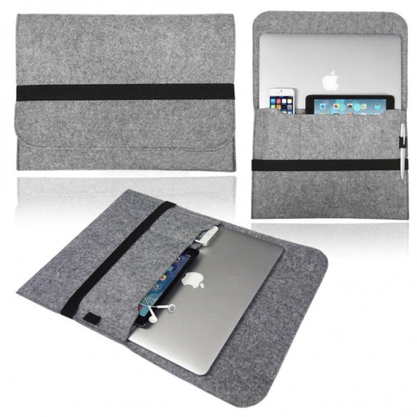 Universal Soft Felt Laptop/Tablet Sleeve for up to 13inch Devices (Light Grey)