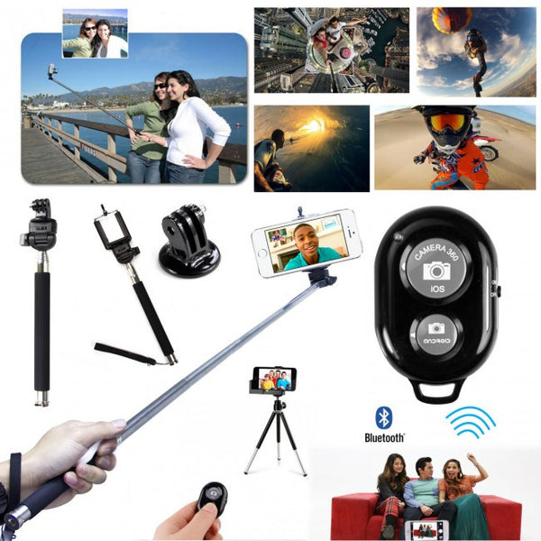 4 in 1 Bluetooth Remote Shutter + Monopod + Phone Holder + Camera Adapter For IOS, Android