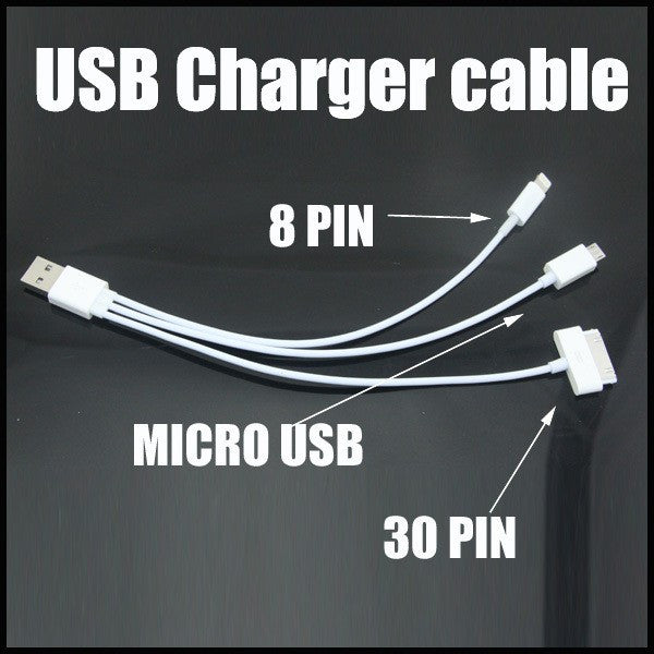 3 IN 1 8 pin & 30 pin & Micro 5 PIN combo USB charger Data cable adapter for Android and iOs