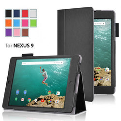 Leather Folio Stand Protective Case Cover For Google Nexus 9