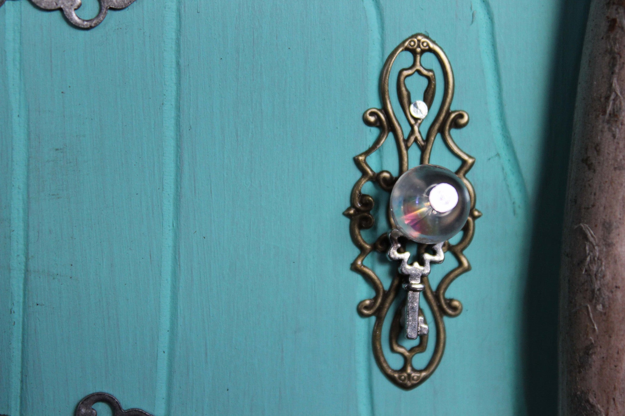 waterdrop aqua blue fairy door, doorknob