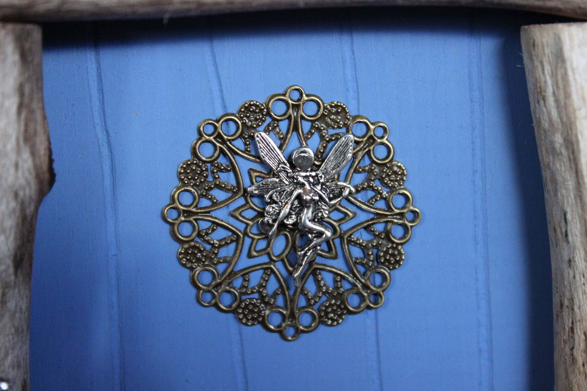outdoor blue fairy door, fairy charm
