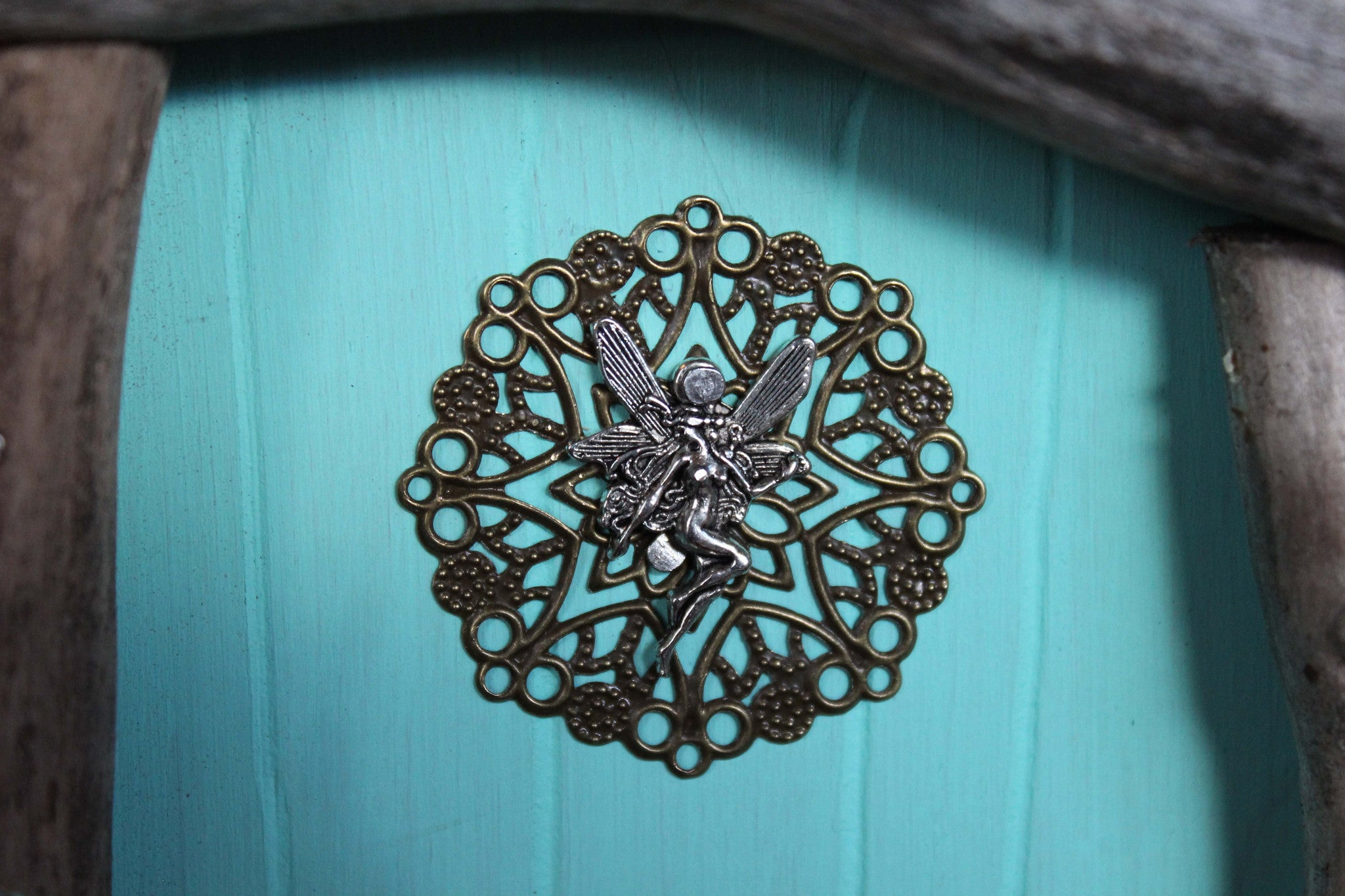 waterdrop aqua blue fairy door, fairy charm