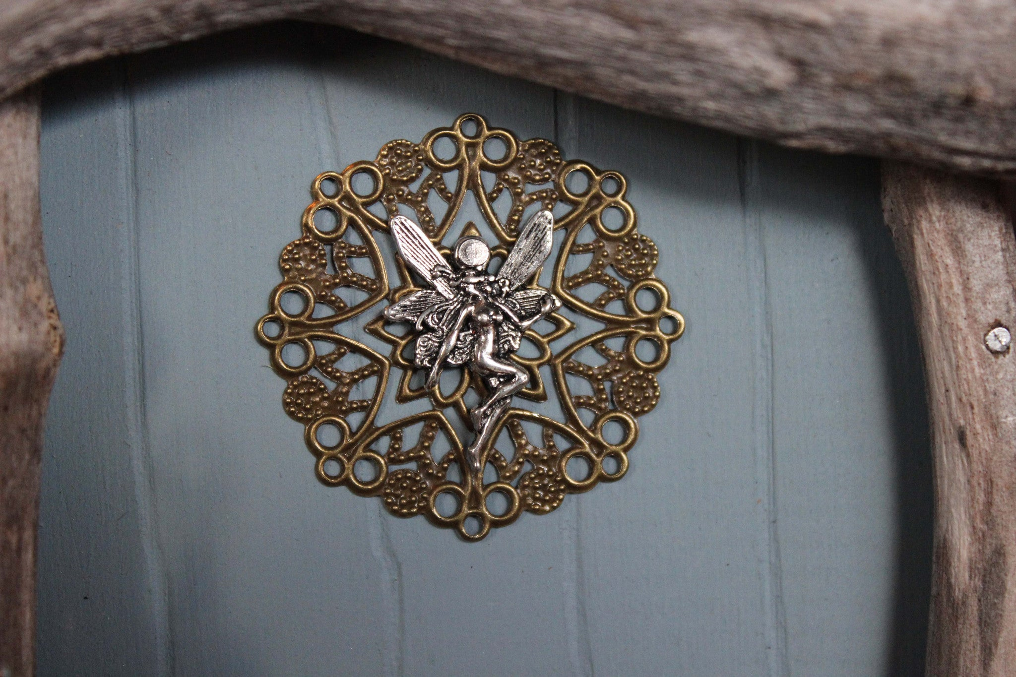 misty blue fairy door, fairy charm