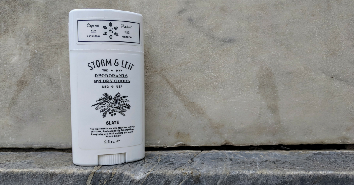 Unscented, natural, 100% organic deodorant for men. Slate by Storm & Leif