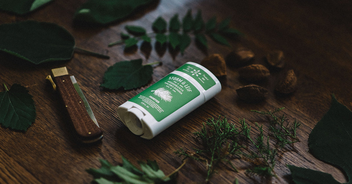 Aluminum free, organic deodorant for men. Frontier by Storm & Leif