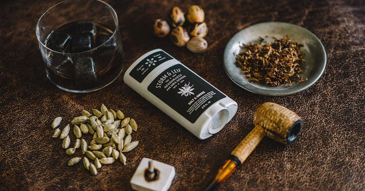 Toasted oak and vanilla spiced, aluminum free deodorant for men. Salt & Smoke by Storm & Leif.