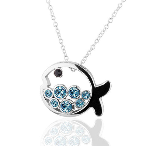ZHOUYANG N259 N261 Fish Necklace Silver Color Fashion Jewellery Nickel Free Necklace Crystal Elements