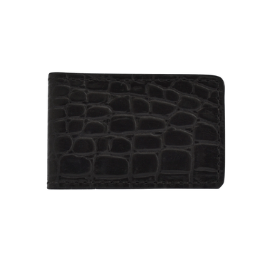 Black Croc Embossed Money Clip