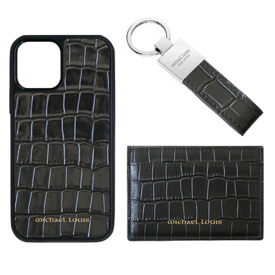 Black Croc Card Holder Set