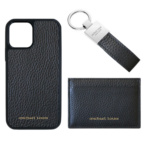 Black Pebbled Leather Card Holder Set