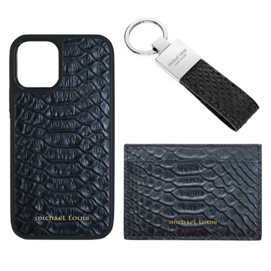 Black Python Card Holder Set
